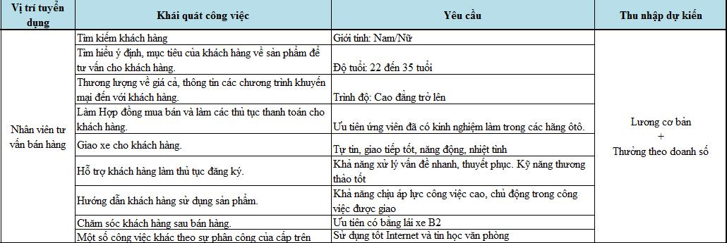 thông tin tuyển dụng Tư vấn Bán hàng Mazda Lê Văn Lương